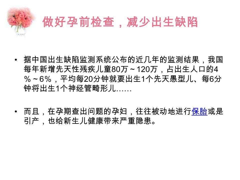 做好孕前检查,减少出生缺陷 据中国出生缺陷监测系统公布的近几年的监测结果,我国 每年新增先天性残疾儿童 80 万~ 120 万,占出生人口的 4 %~ 6 %,平均每 20 分钟就要出生 1 个先天愚型儿、每 6 分 钟将出生 1 个神经管畸形儿 …… 而且,在孕期查出问题的孕妇,往往被动地进行保胎或是 引产,也给新生儿健康带来严重隐患。保胎