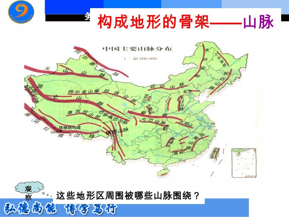 构成地形的骨架 —— 山脉 观察观察 这些地形区周围被哪些山脉围绕?