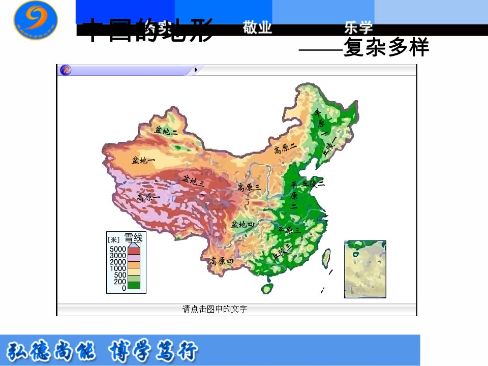 中国的地形 —— 复杂多样