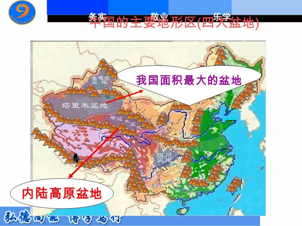 中国的主要地形区 ( 四大盆地 ) 内陆高原盆地 我国面积最大的盆地