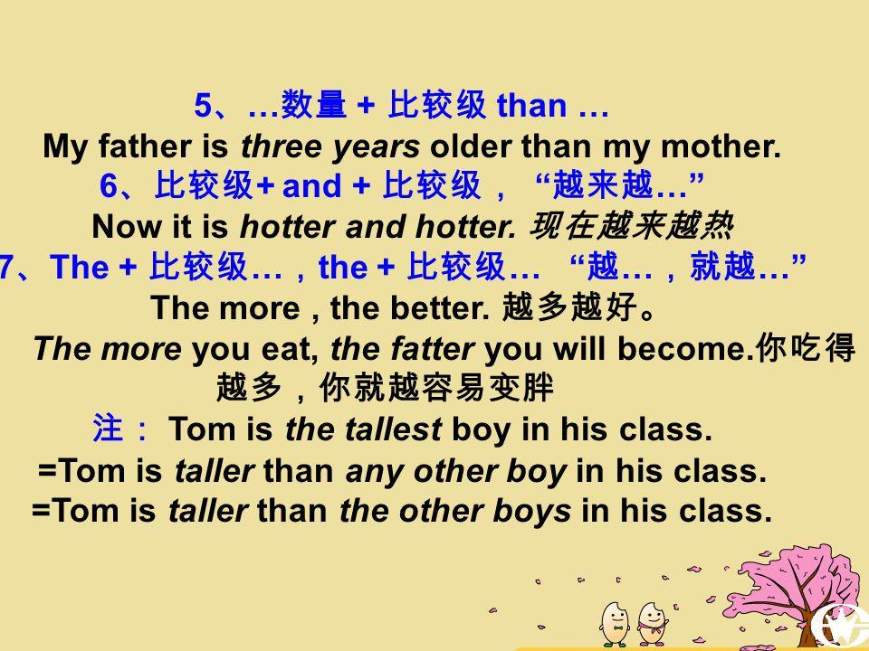 形容词比较级的用法 1 、两者之间的比较,句中有明显的标志词 than Tom is taller than John 2 、 Which/Who is + 比较级, A or B .