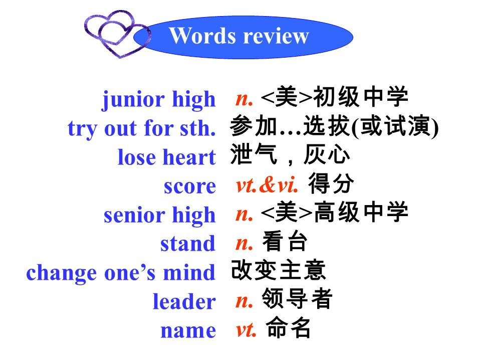 Words review junior high try out for sth.