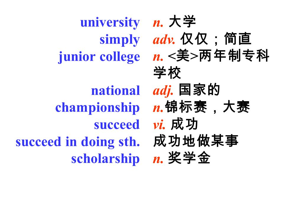 university simply junior college national championship succeed succeed in doing sth.