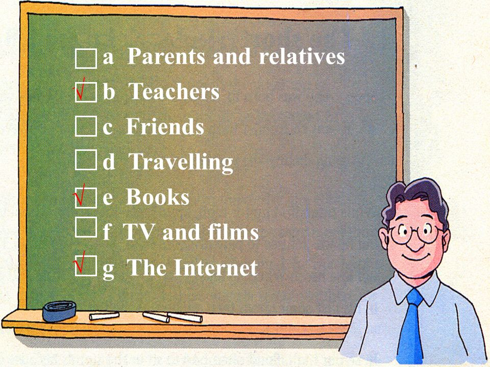 a Parents and relatives b Teachers c Friends d Travelling e Books f TV and films g The Internet √ √ √