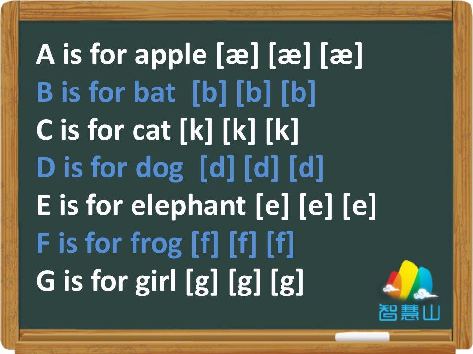 A is for apple [æ] [æ] [æ] B is for bat [b] [b] [b] C is for cat [k] [k] [k] D is for dog [d] [d] [d] E is for elephant [e] [e] [e] F is for frog [f] [f] [f] G is for girl [g] [g] [g]
