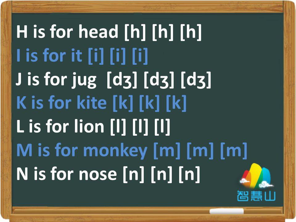 H is for head [h] [h] [h] I is for it [i] [i] [i] J is for jug [dʒ] [dʒ] [dʒ] K is for kite [k] [k] [k] L is for lion [l] [l] [l] M is for monkey [m] [m] [m] N is for nose [n] [n] [n]