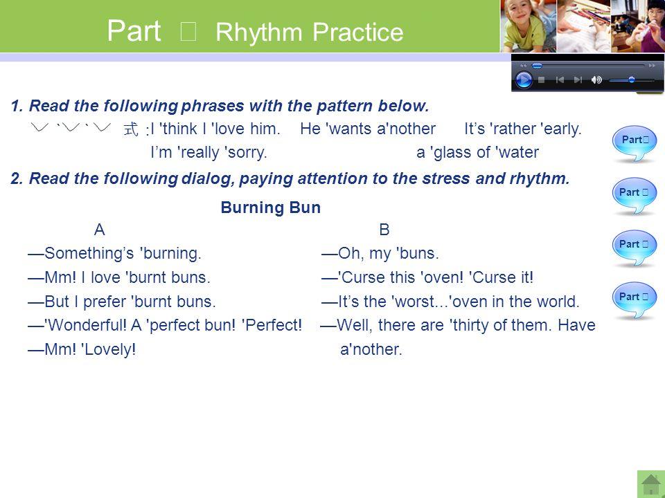 Part Ⅳ Rhythm Practice Part Ⅱ Part Ⅲ Part Ⅳ Part Ⅰ 1.