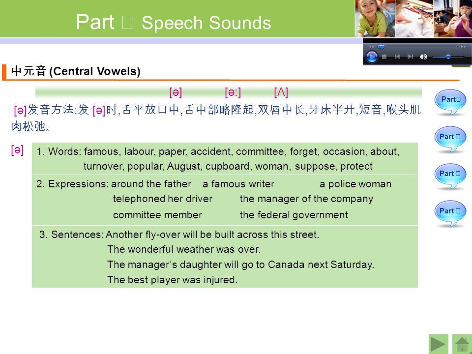 Part Ⅰ Speech Sounds 中元音 (Central Vowels) [ә] [ә:] [Λ] [ә] 发音方法 : 发 [ә] 时, 舌平放口中, 舌中部略隆起, 双唇中长, 牙床半开, 短音, 喉头肌 肉松弛。 1.