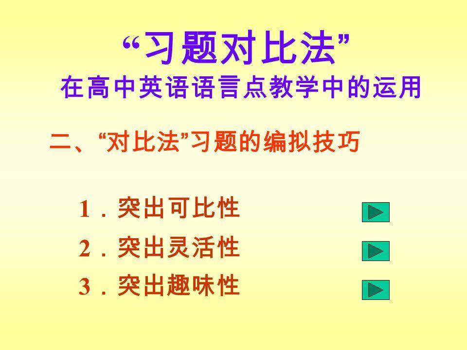 习题对比法 在高中英语语言点教学中的运用 1 .突出可比性 2 .突出灵活性 3 .突出趣味性 二、 对比法 习题的编拟技巧