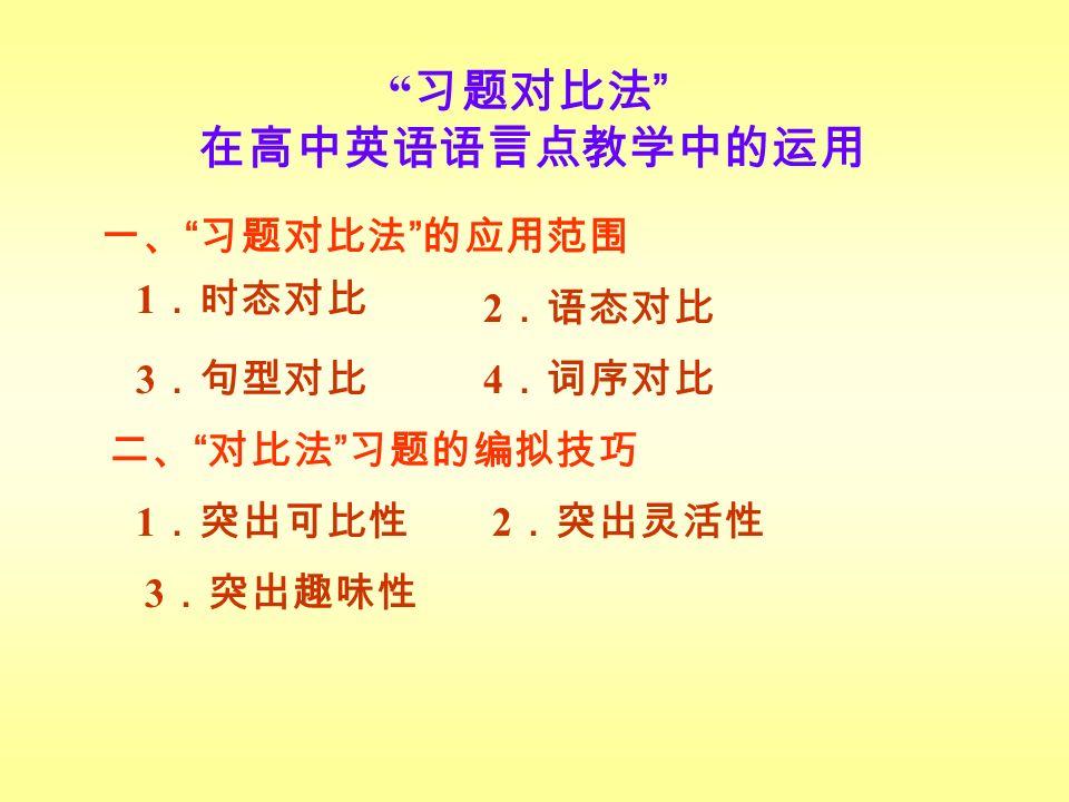 习题对比法 在高中英语语言点教学中的运用 一、 习题对比法 的应用范围 1 .时态对比 2 .语态对比 3 .句型对比 4 .词序对比 1 .突出可比性 2 .突出灵活性 3 .突出趣味性 二、 对比法 习题的编拟技巧