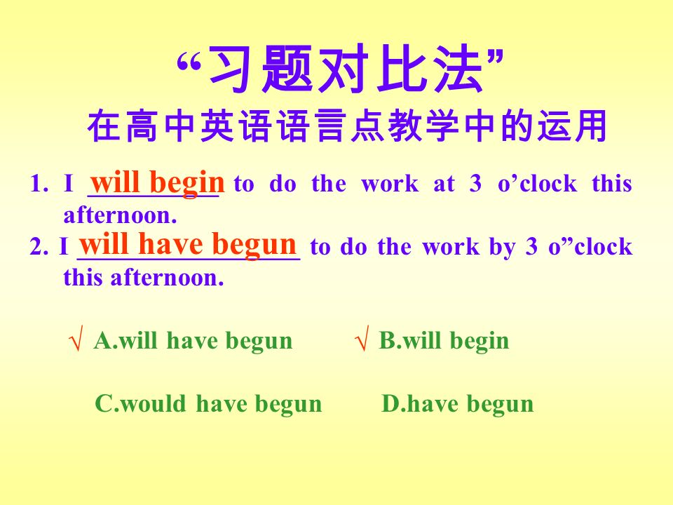 习题对比法 在高中英语语言点教学中的运用 1. I __________ to do the work at 3 o'clock this afternoon.