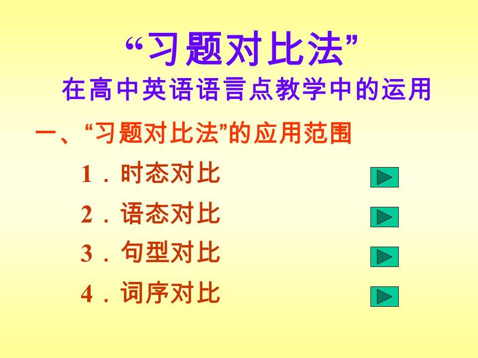 习题对比法 在高中英语语言点教学中的运用 一、 习题对比法 的应用范围 1 .时态对比 2 .语态对比 3 .句型对比 4 .词序对比