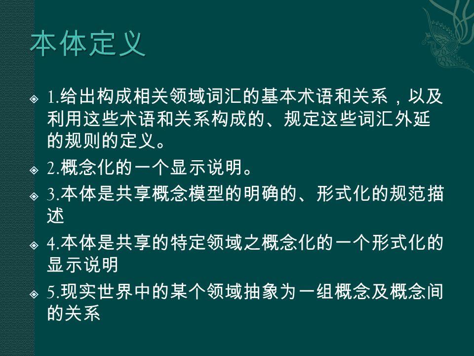  1. 给出构成相关领域词汇的基本术语和关系,以及 利用这些术语和关系构成的、规定这些词汇外延 的规则的定义。  2.