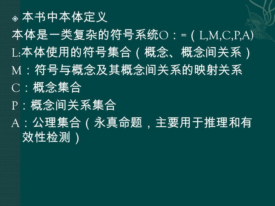  本书中本体定义 本体是一类复杂的符号系统 O : = ( L,M,C,P,A) L: 本体使用的符号集合(概念、概念间关系) M :符号与概念及其概念间关系的映射关系 C :概念集合 P :概念间关系集合 A :公理集合(永真命题,主要用于推理和有 效性检测)