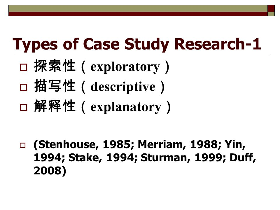 Types of Case Study Research-1  探索性( exploratory )  描写性( descriptive )  解释性( explanatory )  (Stenhouse, 1985; Merriam, 1988; Yin, 1994; Stake, 1994; Sturman, 1999; Duff, 2008)
