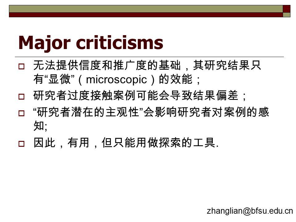 Major criticisms  无法提供信度和推广度的基础,其研究结果只 有 显微 ( microscopic )的效能;  研究者过度接触案例可能会导致结果偏差;  研究者潜在的主观性 会影响研究者对案例的感 知 ;  因此,有用,但只能用做探索的工具.