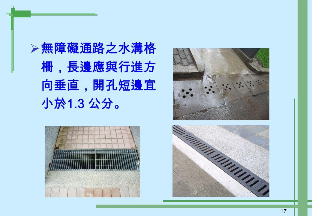 17  無障礙通路之水溝格 柵,長邊應與行進方 向垂直,開孔短邊宜 小於 1.3 公分。