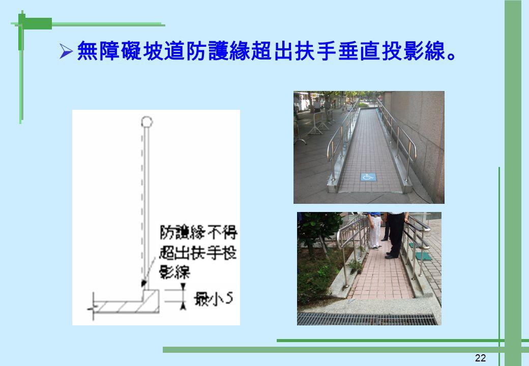 22  無障礙坡道防護緣超出扶手垂直投影線。