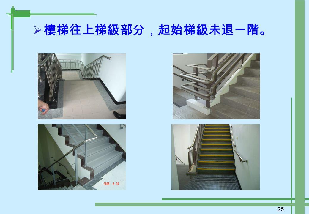 25  樓梯往上梯級部分,起始梯級未退一階。