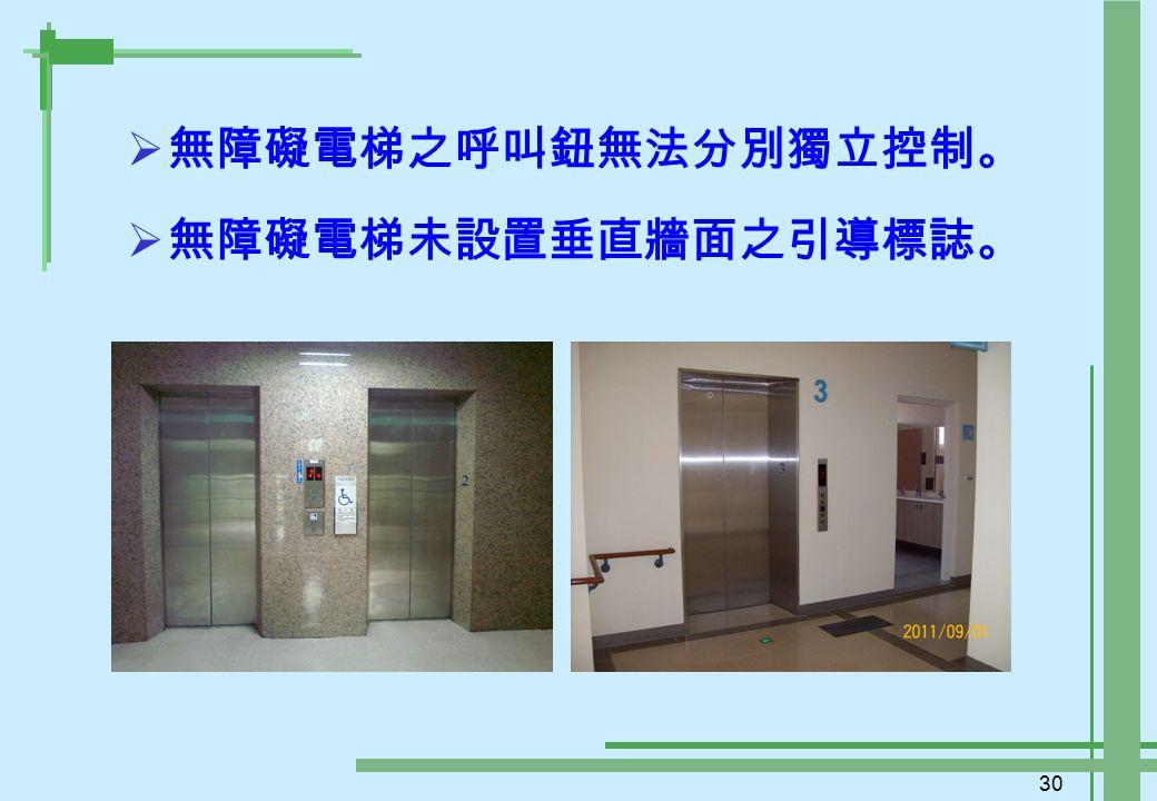 30  無障礙電梯之呼叫鈕無法分別獨立控制。  無障礙電梯未設置垂直牆面之引導標誌。