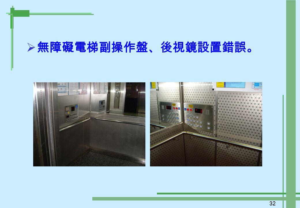 32  無障礙電梯副操作盤、後視鏡設置錯誤。