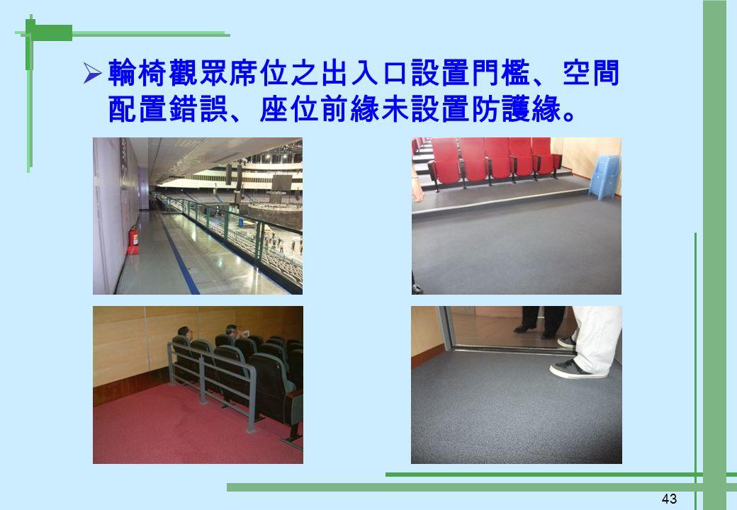 43  輪椅觀眾席位之出入口設置門檻、空間 配置錯誤、座位前緣未設置防護緣。