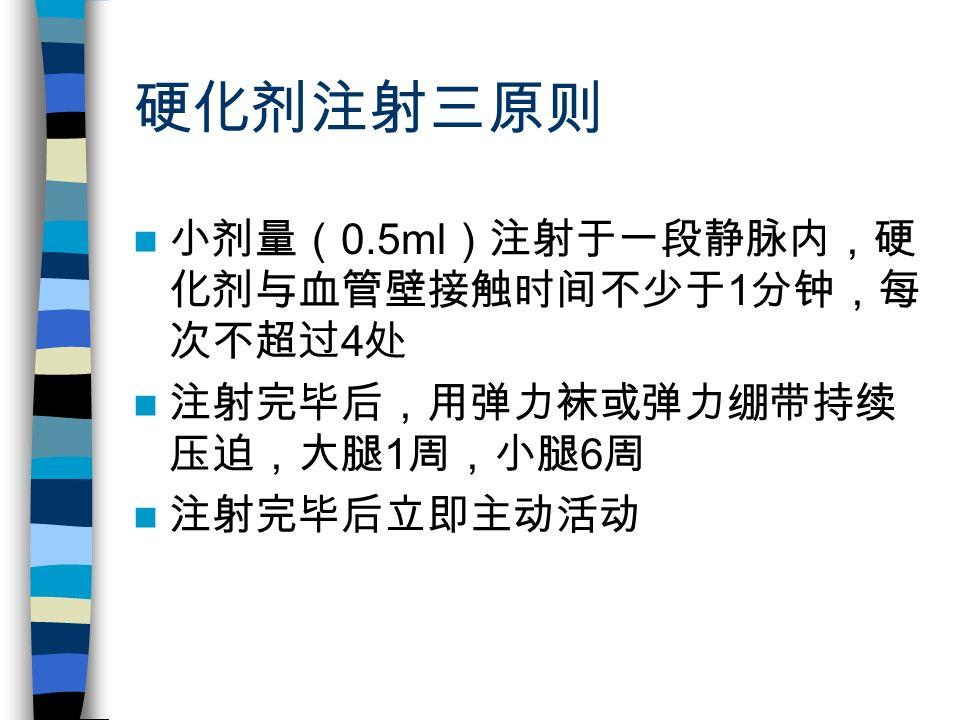 硬化剂注射三原则 小剂量( 0.5ml )注射于一段静脉内,硬 化剂与血管壁接触时间不少于 1 分钟,每 次不超过 4 处 注射完毕后,用弹力袜或弹力绷带持续 压迫,大腿 1 周,小腿 6 周 注射完毕后立即主动活动