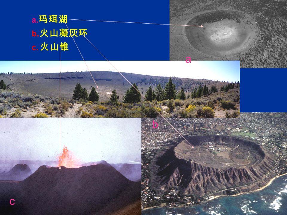 a. 玛珥湖 b. 火山凝灰环 c. 火山锥 b c a