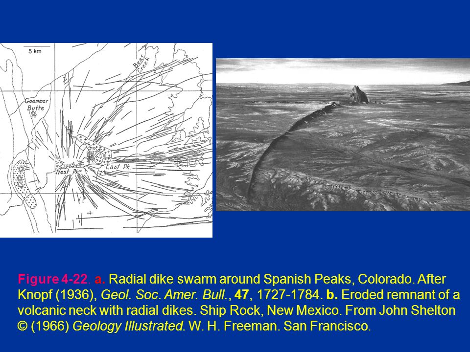 Figure a. Radial dike swarm around Spanish Peaks, Colorado.