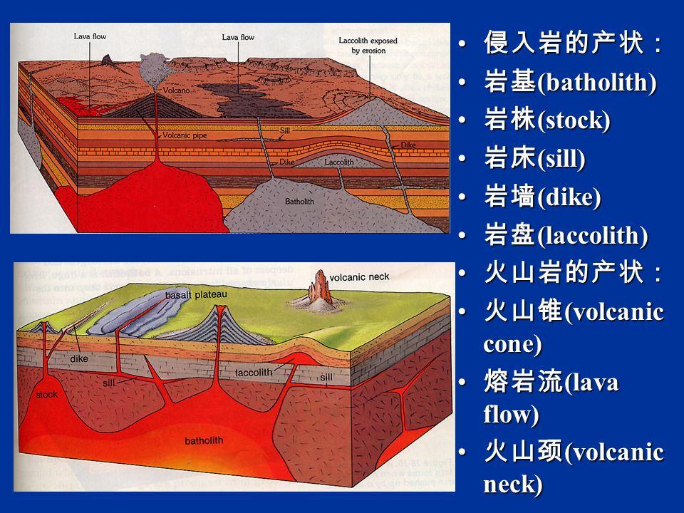 侵入岩的产状: 侵入岩的产状: 岩基 (batholith) 岩基 (batholith) 岩株 (stock) 岩株 (stock) 岩床 (sill) 岩床 (sill) 岩墙 (dike) 岩墙 (dike) 岩盘 (laccolith) 岩盘 (laccolith) 火山岩的产状: 火山岩的产状: 火山锥 (volcanic cone) 火山锥 (volcanic cone) 熔岩流 (lava flow) 熔岩流 (lava flow) 火山颈 (volcanic neck) 火山颈 (volcanic neck)