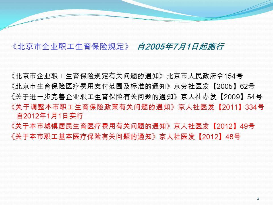 《北京市企业职工生育保险规定》 自 2005 年 7 月 1 日起施行 《北京市企业职工生育保险规定有关问题的通知》北京市人民政府令 154 号 《北京市生育保险医疗费用支付范围及标准的通知》京劳社医发【 2005 】 62 号 《关于进一步完善企业职工生育保险有关问题的通知》京人社办发【 2009 】 54 号 《关于调整本市职工生育保险政策有关问题的通知》京人社医发【 2011 】 334 号 自 2012 年 1 月 1 日实行 《关于本市城镇居民生育医疗费用有关问题的通知》京人社医发【 2012 】 49 号 《关于本市职工基本医疗保险有关问题的通知》京人社医发【 2012 】 48 号 2