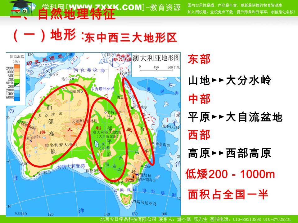 东部 山地►►大分水岭 中部 平原►►大自流盆地 西部 高原►►西部高原 东中西三大地形区 二、自然地理特征(一)地形: 低矮 200 - 1000m 面积占全国一半