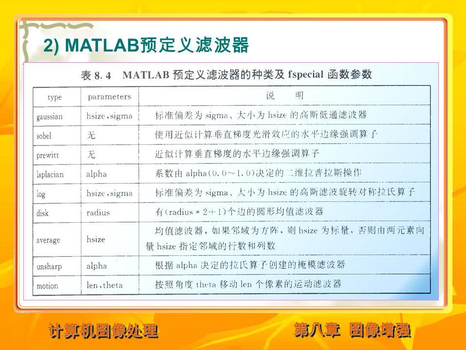 第八章 图像增强 计算机图像处理计算机图像处理 2) MATLAB 预定义滤波器