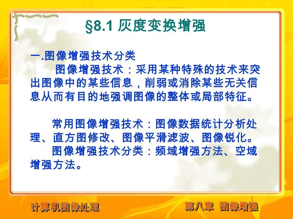 计算机图像处理计算机图像处理 §8.1 灰度变换增强 一.