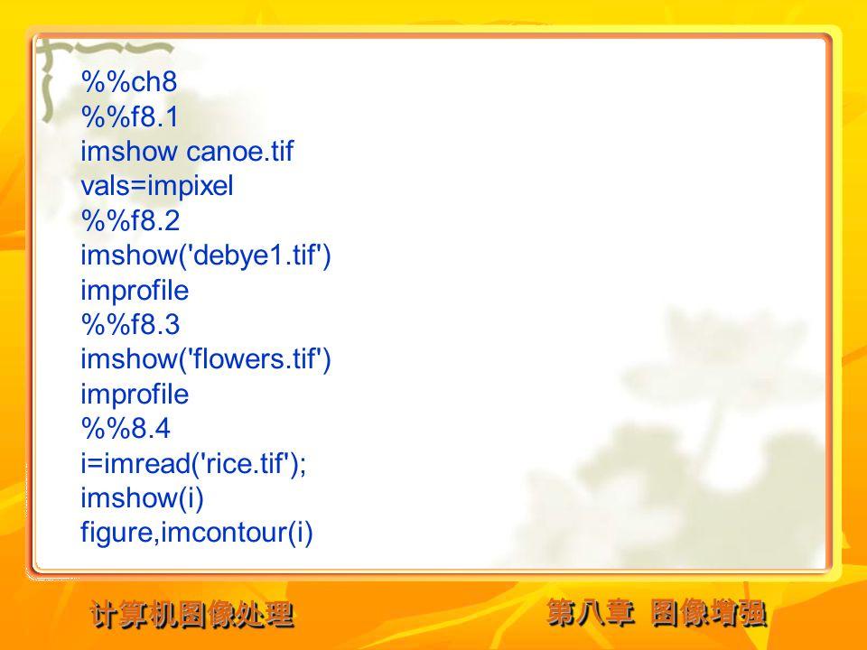 计算机图像处理计算机图像处理 %ch8 %f8.1 imshow canoe.tif vals=impixel %f8.2 imshow( debye1.tif ) improfile %f8.3 imshow( flowers.tif ) improfile %8.4 i=imread( rice.tif ); imshow(i) figure,imcontour(i)