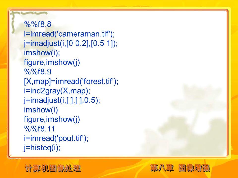 第八章 图像增强 计算机图像处理计算机图像处理 %f8.8 i=imread( cameraman.tif ); j=imadjust(i,[0 0.2],[0.5 1]); imshow(i); figure,imshow(j) %f8.9 [X,map]=imread( forest.tif ); i=ind2gray(X,map); j=imadjust(i,[ ],[ ],0.5); imshow(i) figure,imshow(j) %f8.11 i=imread( pout.tif ); j=histeq(i);