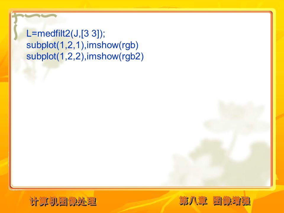第八章 图像增强 计算机图像处理计算机图像处理 L=medfilt2(J,[3 3]); subplot(1,2,1),imshow(rgb) subplot(1,2,2),imshow(rgb2)