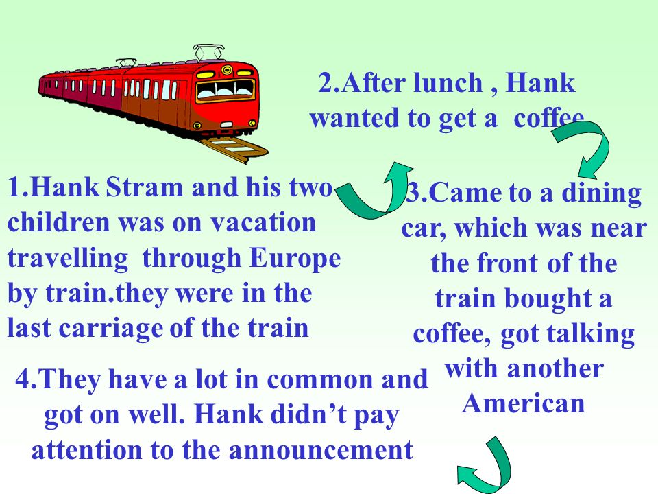 1.Hank Stram and his two children was on vacation travelling through Europe by train.they were in the last carriage of the train 2.After lunch, Hank wanted to get a coffee 3.Came to a dining car, which was near the front of the train bought a coffee, got talking with another American 4.They have a lot in common and got on well.