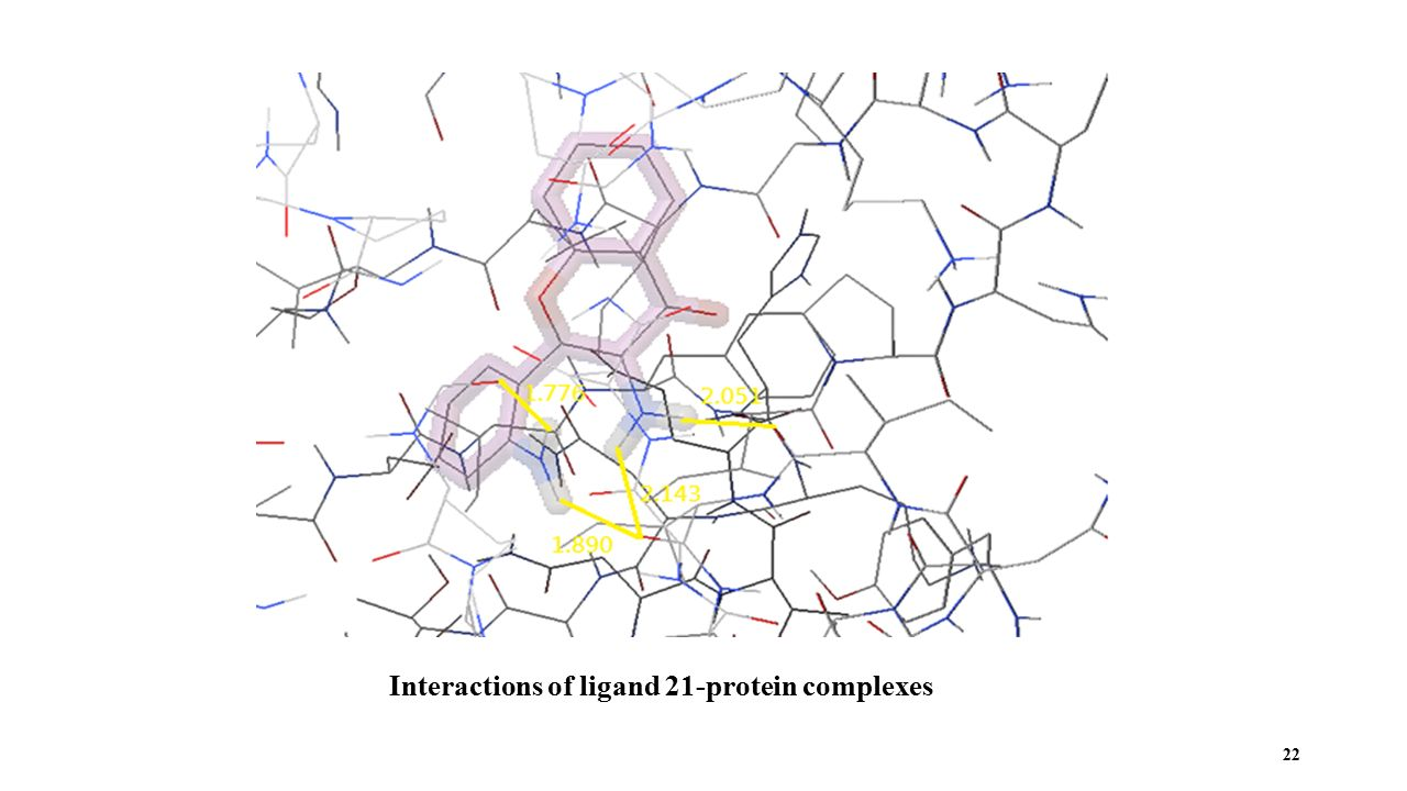 Interactions of ligand 21-protein complexes 22
