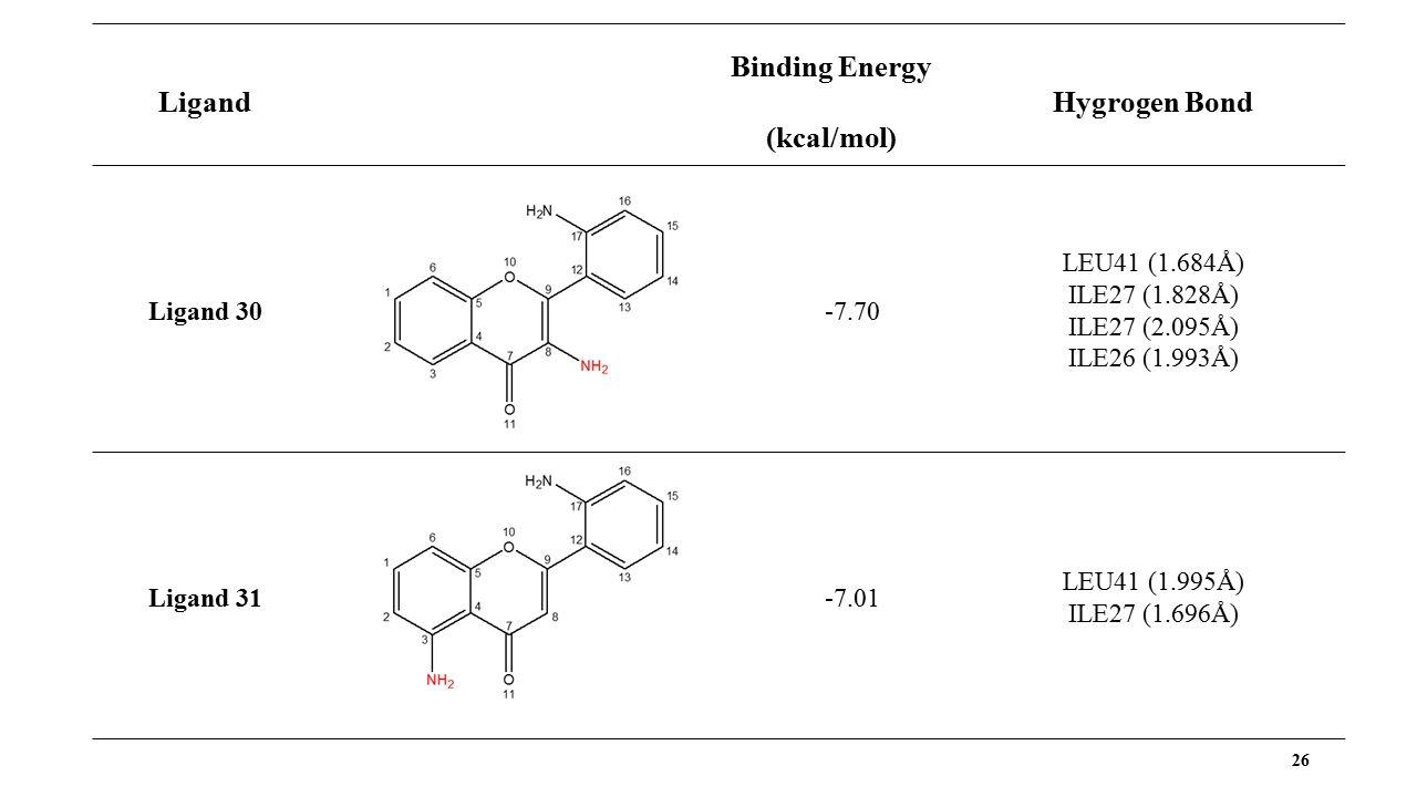 26 Ligand Binding Energy (kcal/mol) Hygrogen Bond Ligand 30-7.70 LEU41 (1.684Å) ILE27 (1.828Å) ILE27 (2.095Å) ILE26 (1.993Å) Ligand 31-7.01 LEU41 (1.995Å) ILE27 (1.696Å)