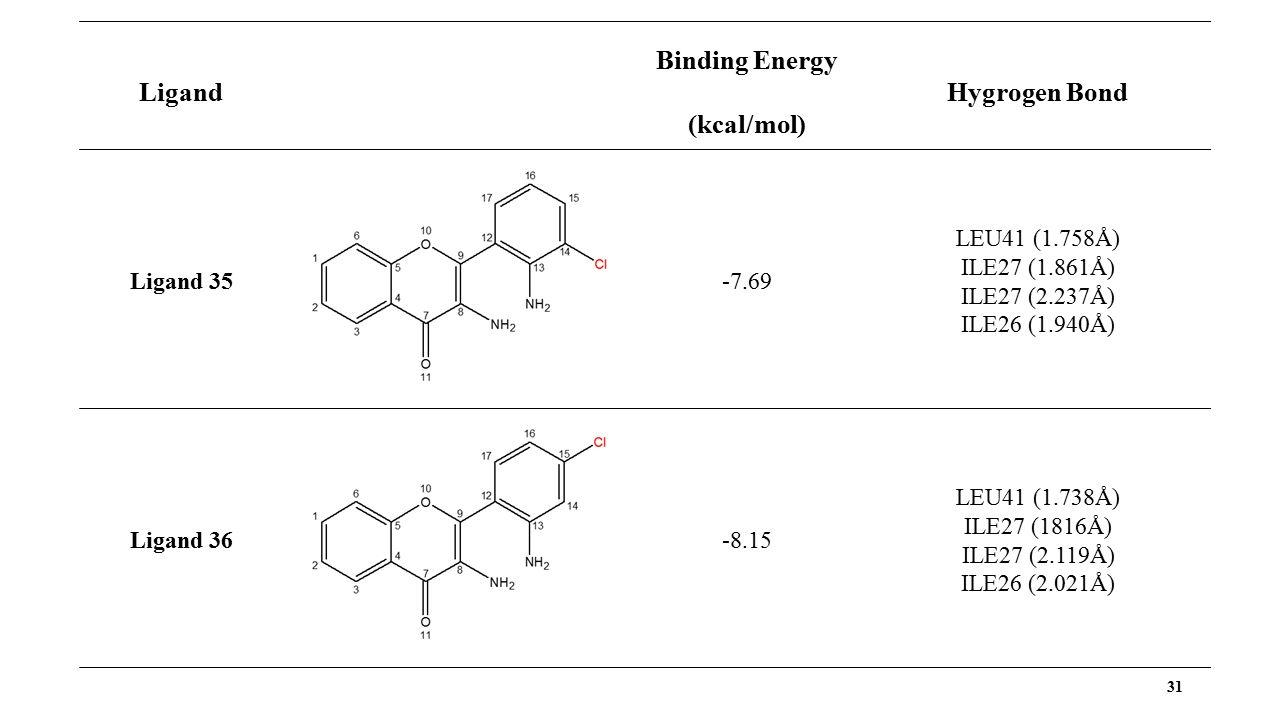 31 Ligand Binding Energy (kcal/mol) Hygrogen Bond Ligand 35 -7.69 LEU41 (1.758Å) ILE27 (1.861Å) ILE27 (2.237Å) ILE26 (1.940Å) Ligand 36 -8.15 LEU41 (1.738Å) ILE27 (1816Å) ILE27 (2.119Å) ILE26 (2.021Å)