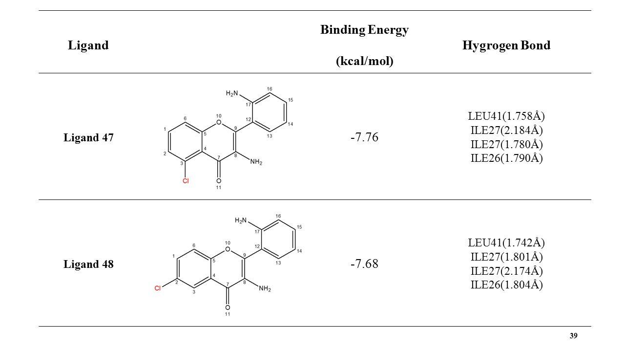 39 Ligand Binding Energy (kcal/mol) Hygrogen Bond Ligand 47 -7.76 LEU41(1.758Å) ILE27(2.184Å) ILE27(1.780Å) ILE26(1.790Å) Ligand 48 -7.68 LEU41(1.742Å) ILE27(1.801Å) ILE27(2.174Å) ILE26(1.804Å)
