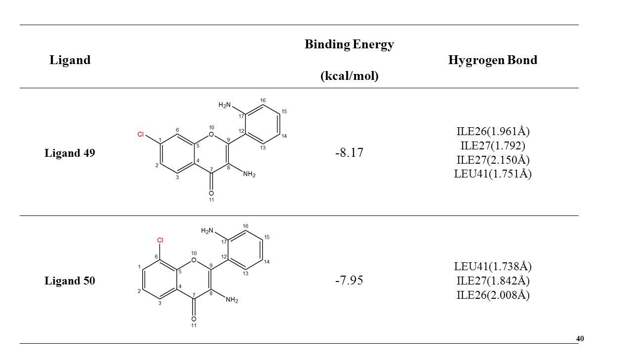 40 Ligand Binding Energy (kcal/mol) Hygrogen Bond Ligand 49 -8.17 ILE26(1.961Å) ILE27(1.792) ILE27(2.150Å) LEU41(1.751Å) Ligand 50 -7.95 LEU41(1.738Å) ILE27(1.842Å) ILE26(2.008Å)