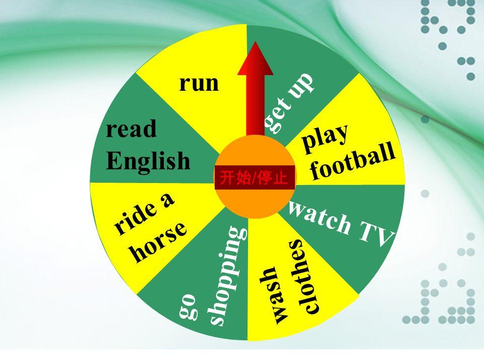 Lucky, lucky draw s go 点击开始按钮,幸运转盘启动。点击暂停按钮, 以指针对应的词语为例,用一般过去时态造句。 对应蓝色条所造句子为肯定句,对应黄色条则 应为否定句。