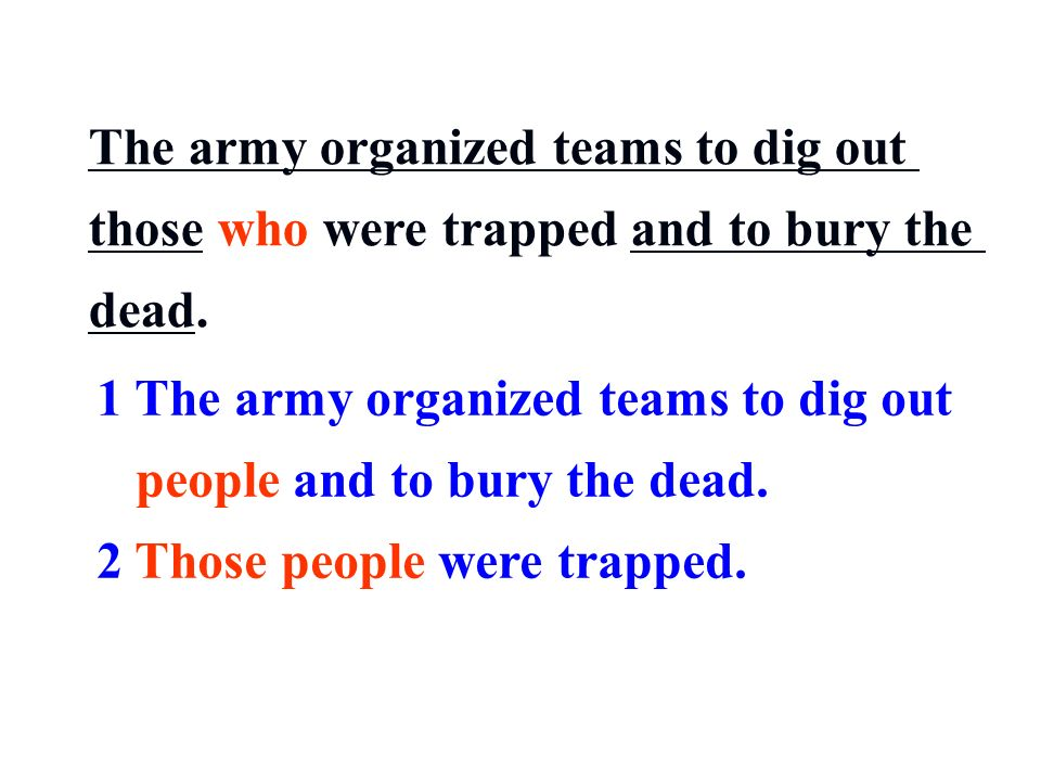The army organized teams to dig out those who were trapped and to bury the dead.