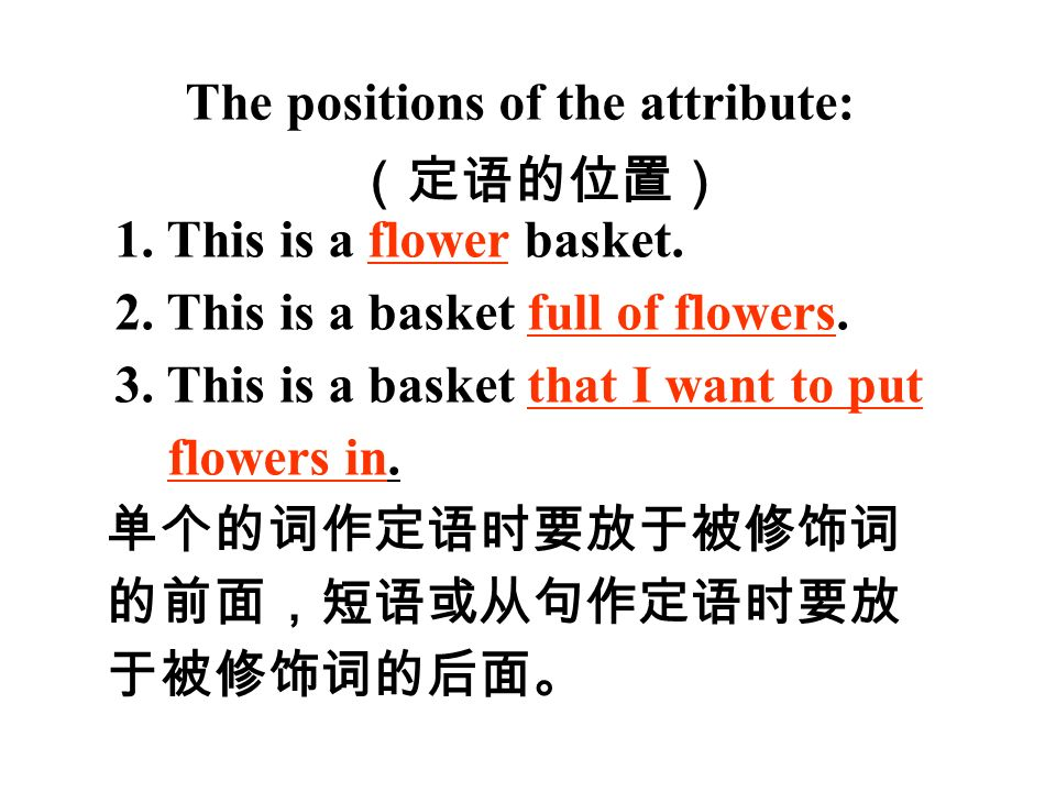The positions of the attribute: (定语的位置) 1. This is a flower basket.