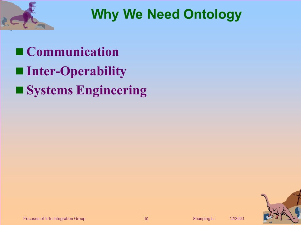 10 Shanping Li 12/2003Focuses of Info Integration Group Why We Need Ontology n Communication n Inter-Operability n Systems Engineering