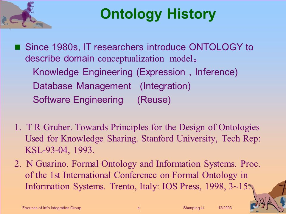 4 Shanping Li 12/2003Focuses of Info Integration Group Ontology History Since 1980s, IT researchers introduce ONTOLOGY to describe domain conceptualization model 。 Knowledge Engineering (Expression , Inference) Database Management (Integration) Software Engineering (Reuse) 1.