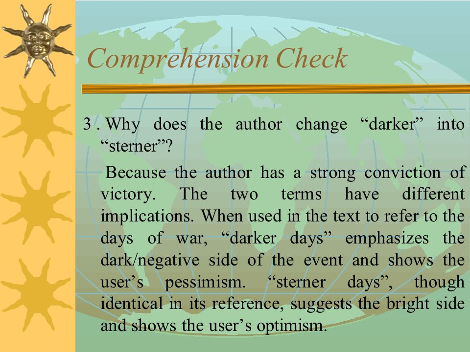 Comprehension Check 2. What is the change in the widespread mood referred to in Paragraph.