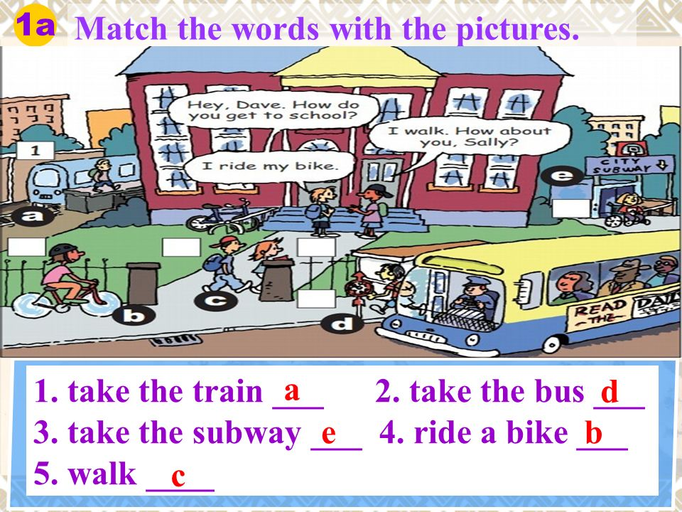 Match the words with the pictures. 1a 1. take the train ___ 2.